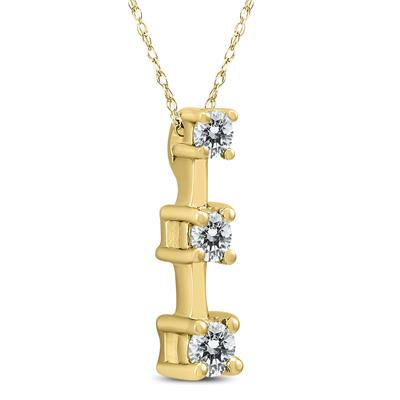 1/4 Carat TW Three Stone Diamond Pendant in 10K Yellow Gold