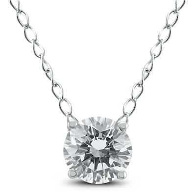 1/4 Carat Floating Round Diamond Solitaire Necklace in 14K White Gold