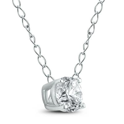 1/3 Carat Floating Round Diamond Solitaire Necklace in 14K White Gold