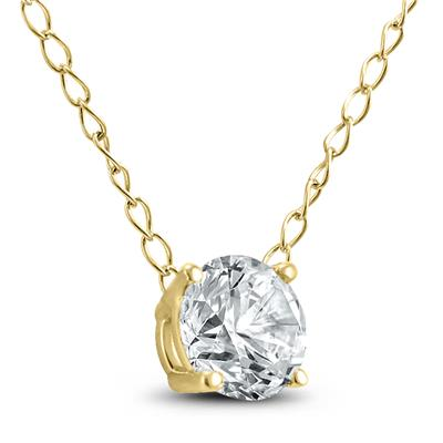 1/4 Carat Floating Round Diamond Solitaire Necklace in 14K Yellow Gold