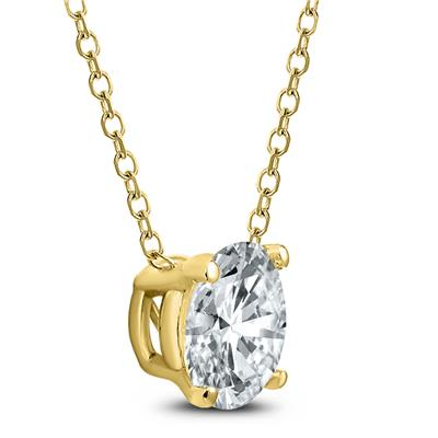 AGS Certified 1 Carat Floating Round Diamond Solitaire Necklace in 14K Yellow Gold