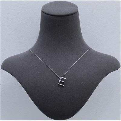 1/6 Carat TW E Initial Diamond Pendant Necklace in 10K White Gold with Adjustable Chain