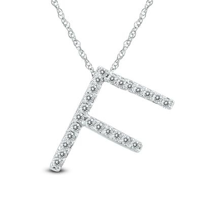 1/8 Carat TW F Initial Diamond Pendant Necklace in 10K White Gold with Adjustable Chain