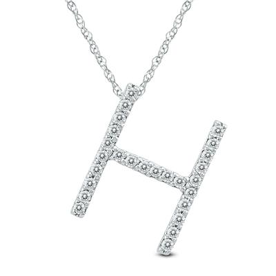 1/6 Carat TW H Initial Diamond Pendant Necklace in 10K White Gold with Adjustable Chain