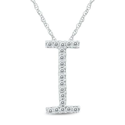 1/10 Carat TW I Initial Diamond Pendant Necklace in 10K White Gold with Adjustable Chain