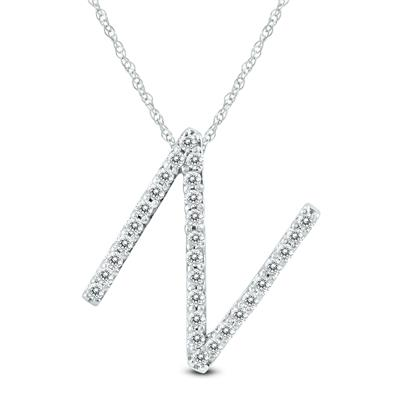 1/5 Carat TW N Initial Diamond Pendant Necklace in 10K White Gold with Adjustable Chain