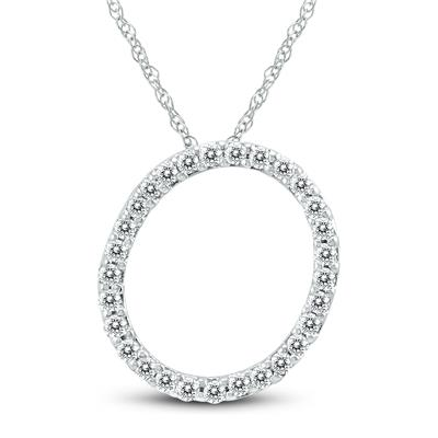 1/6 Carat TW O Initial Diamond Pendant Necklace in 10K White Gold with Adjustable Chain