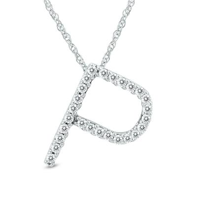 1/6 Carat TW P Initial Diamond Pendant Necklace in 10K White Gold with Adjustable Chain