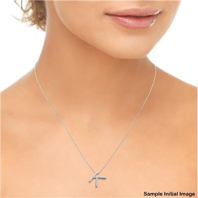 1/10 Carat TW T Initial Diamond Pendant Necklace in 10K White Gold with Adjustable Chain