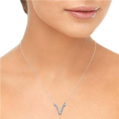 1/8 Carat TW V Initial Diamond Pendant Necklace in 10K White Gold with Adjustable Chain