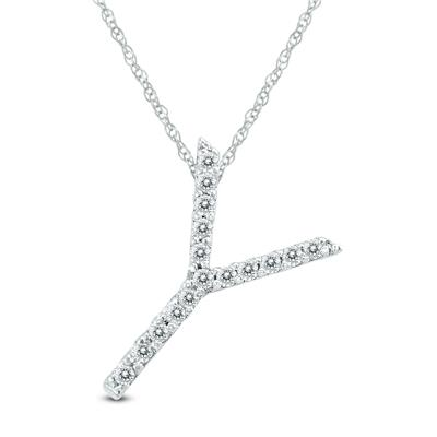 1/10 Carat TW Y Initial Diamond Pendant Necklace in 10K White Gold with Adjustable Chain