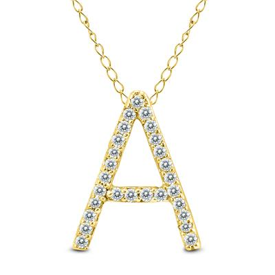 1/6 Carat TW A Initial Diamond Pendant in 10K Yellow Gold with Adjustable Chain