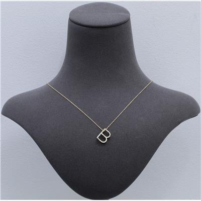 1/6 Carat TW B Initial Diamond Pendant Necklace in 10K Yellow Gold with Adjustable Length Chain