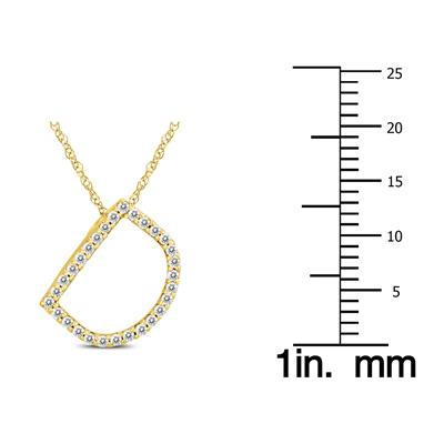 1/6 Carat TW D Initial Diamond Pendant Necklace in 10K Yellow Gold with Adjustable Chain