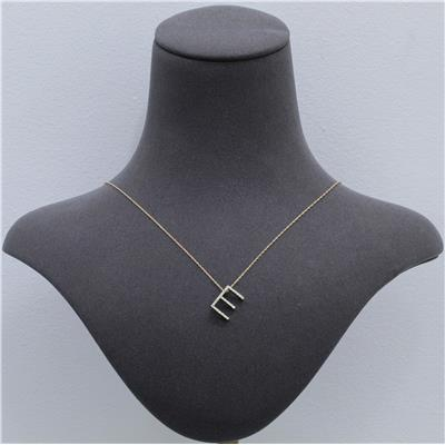 1/6 Carat TW E Initial Diamond Pendant Necklace in 10K Yellow Gold with Adjustable Chain