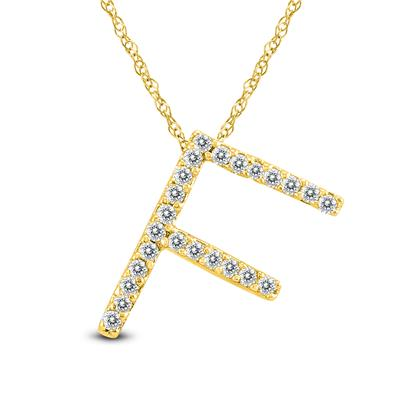 1/8 Carat TW F Initial Diamond Pendant Necklace in 10K Yellow Gold with Adjustable Chain