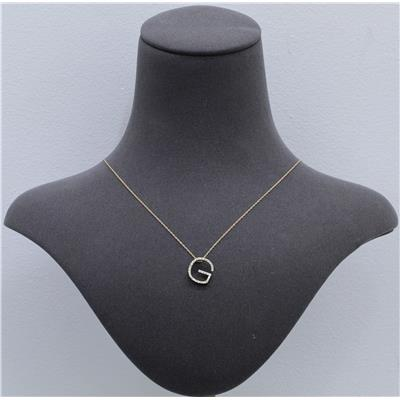 1/5 Carat TW G Initial Diamond Pendant Necklace in 10K Yellow Gold with Adjustable Chain