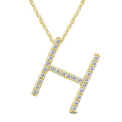 1/6 Carat TW H Initial Diamond Pendant Necklace in 10K Yellow Gold with Adjustable Chain