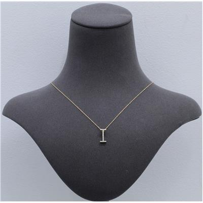 1/10 Carat TW I Initial Diamond Pendant Necklace in 10K Yellow Gold with Adjustable Chain