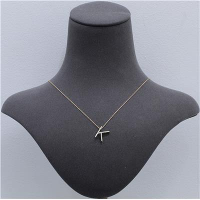 1/8 Carat TW K Initial Diamond Pendant Necklace in 10K Yellow Gold with Adjustable Chain