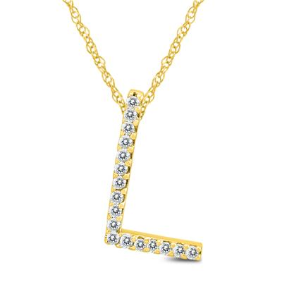 1/10 Carat TW L Initial Diamond Pendant Necklace in 10K Yellow Gold with Adjustable Chain