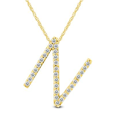 1/5 Carat TW N Initial Diamond Pendant Necklace in 10K Yellow Gold with Adjustable Chain