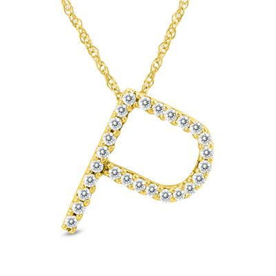 1/6 Carat TW P Initial Diamond Pendant Necklace in 10K Yellow Gold with Adjustable Chain