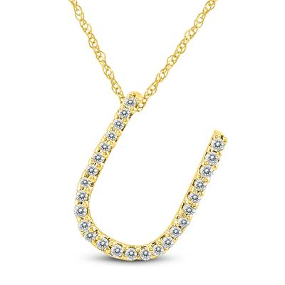 1/6 Carat TW U Initial Diamond Pendant Necklace in 10K Yellow Gold with Adjustable Chain