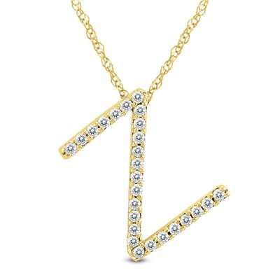 1/6 Carat TW Z Initial Diamond Pendant Necklace in 10K Yellow Gold with Adjustable Chain