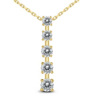 ad810ac2bf6b3 1 Carat TW Diamond Journey Pendant in 14K Yellow Gold - PDF59957D