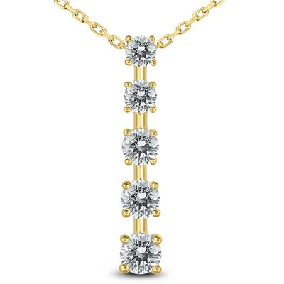 1 1/2 Carat TW Diamond Journey Pendant in 14K Yellow Gold