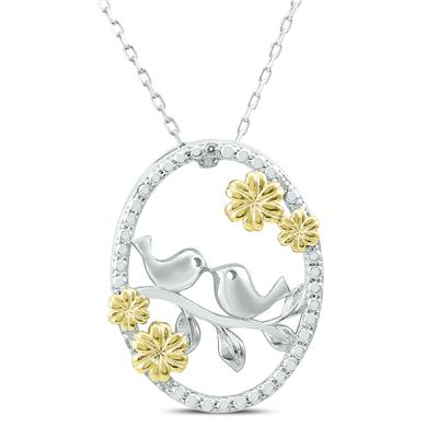 Diamond Love Bird Pendant In .925 Sterling Silver with Gold Accent