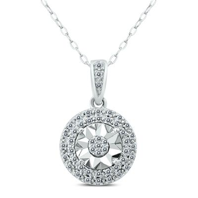 1/10 CTW Diamond Halo Pendant in .925 Sterling Silver