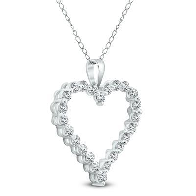 1 CTW Diamond Heart Pendant in 14K White Gold