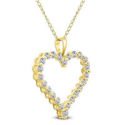 1 CTW Diamond Heart Pendant in 14K Yellow Gold