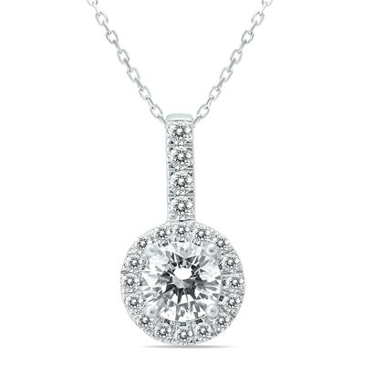 Signature Quality 1 Carat TW Halo Diamond Pendant in 14K White Gold (H-I Color, SI1-SI2 Clarity)