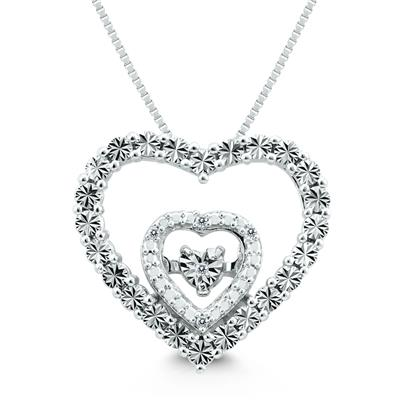 Diamond Heart Necklace Pendant in .925 Sterling Silver