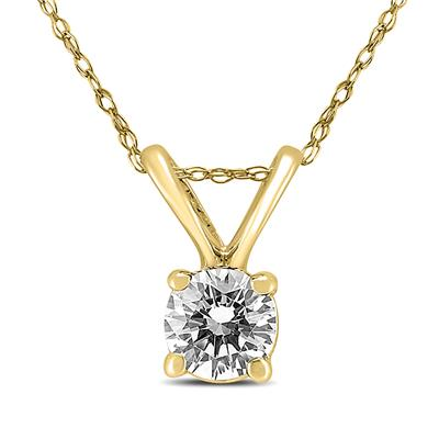 "1/3 Carat Solitaire Round Diamond Pendant Necklace with 18"" Chain in 14K Yellow Gold"
