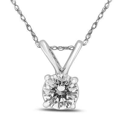 3/8 Carat Solitaire Natural Diamond Pendant in 14K White Gold