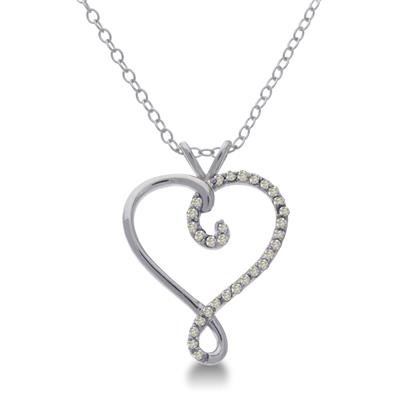 1/10 Carat TW Diamond Heart Swirl Necklace in .925 Sterling Silver