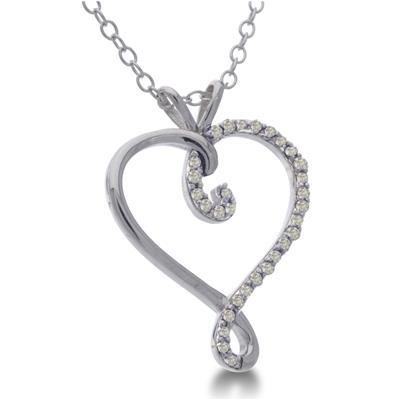 1/10 Carat TW Diamond Heart Swirl Necklace in .925 Sterling Silver