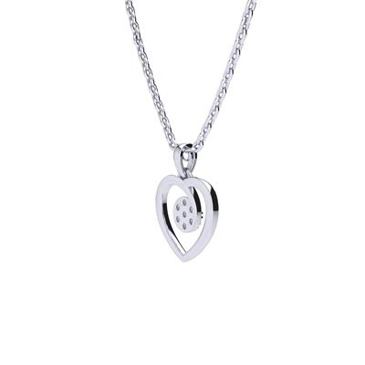 1/10 Carat TW Diamond Heart Cluster Necklace In Sterling Silver