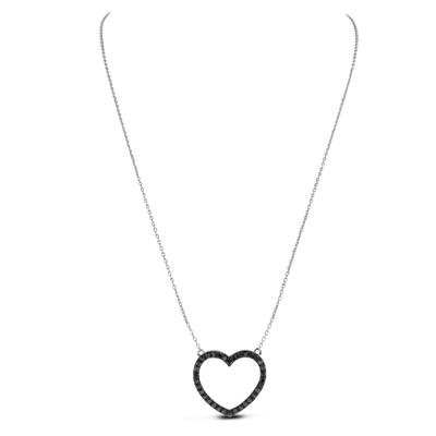 1 Carat TW Black Diamond Heart Necklace in .925 Sterling Silver
