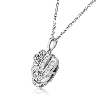 1/4 CT TW Diamond Heart Necklace with Round and Baguette Diamonds