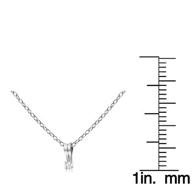 .03 CT Diamond Solitaire Necklace In .925 Sterling Silver