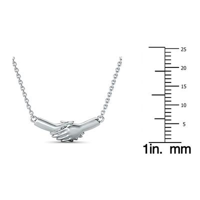 Ted Poley Miss Your Touch Hand in Hand Necklace in 10K White Gold