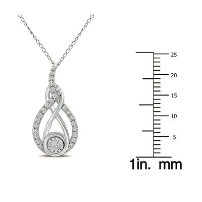 1/4 CTW Twisted Diamond Infinity Drop Pendant in 14K White Gold