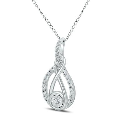 1/2 CTW Twisted Diamond Infinity Drop Pendant in 14K White Gold