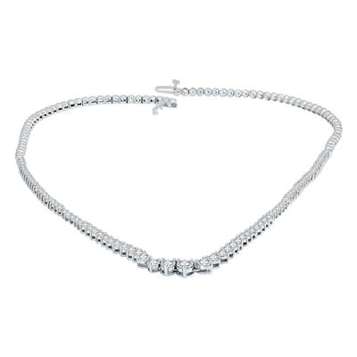 5 Carat TW Graduated Diamond Tennis Necklace in 14K White Gold
