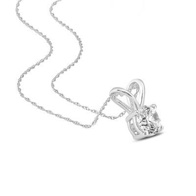 IGI Certified Lab Grown 1 Carat Diamond Solitaire Pendant in 14K White Gold (I Color, SI1 Clarity)
